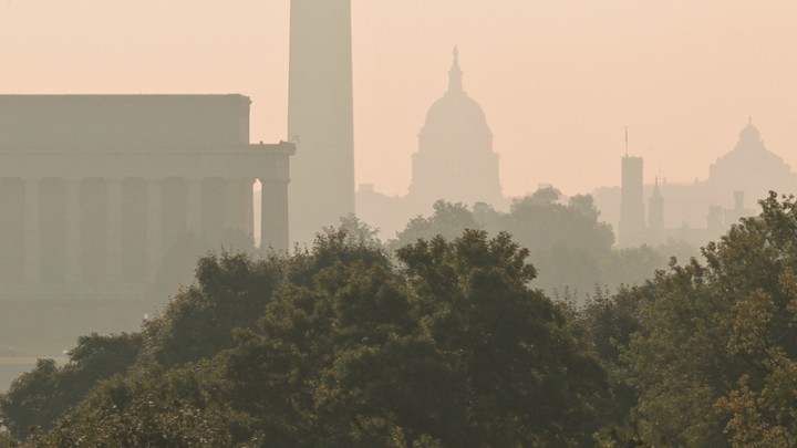 Oppressive heat and high humidity settle in over the Washington skyline as record-breaking temperatures and ozone-laden haze prompt air-quality alerts for the coming days in the nation's capital, Friday, July 23, 2010. Viewed from an overlook in Virginia above the Potomac River are, from left to right, the Lincoln Memorial, Washington Monument, the Capitol, the Smithsonian Castle and the Library of Congress. (AP Photo/J. Scott Applewhite)