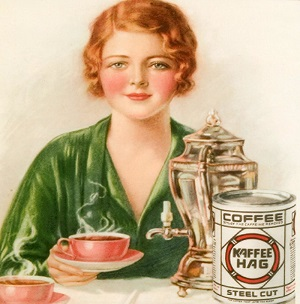 FKCGAF 1920s UK Kaffee HAG Magazine Advert (detail)