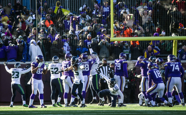 Seahawks cornerback Richard Sherman and teammates react after Vikings kicker Blair Walsh missed a final field goal sealing Seattle's 10-9 victory over Minnesota Sunday January 10, 2016 at TCF Bank Stadium in Minneapolis for an NFC Wild Card Playoff game.